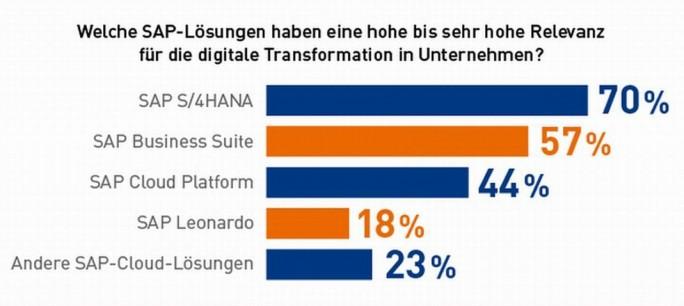 SAP Leonardo hat für die Anwenderunternehmen im Rahmen ihrer Digitaliserungsprojekte aktuelle (Oktober 2017) erst eine geringe Relevanz (Grafik: DSAG)