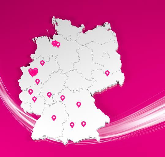 Die 14 von der Deutschen Telekom für den Glasfaserausbau vorgesehenen Städte. Schwerpunkte sind Düsseldorf und Bremen. (Screenshot: silicon.de)