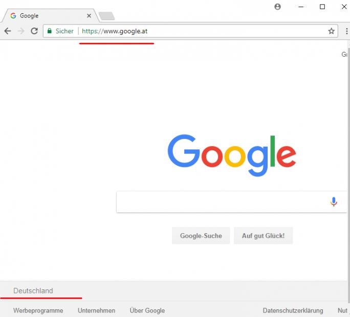 Google nutzt jetzt auch bei Suche und Maps automatisch den aktuellen Standort für die Ergebnisoptimierung. Selbst wenn in der URL google.at ausgewählt wurde, wird in Google.de gesucht (Screenshot: silicon.de)