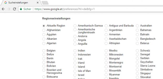 """Bei den Sucheinstellungen ist durch Google nun standardmäßig immer """"aktuelle Region"""" aktiviert. Das lässt sich auch nur dort ändern. (Screenshot: silicon.de)"""