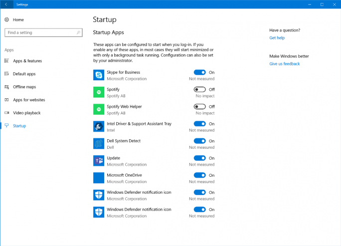 Ab dem Redstone-4-Update findet sich die Verwaltung von Autostarteinträgen in den Einstellungen und nicht mehr im Task Manager (Screenshot: Microsoft).