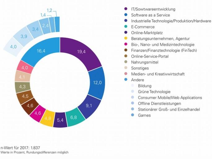 Verteilung der Start-ups in Deutschland nach Branchen, Stand 2017 (Grafik: Deutscher Startup Monitor)
