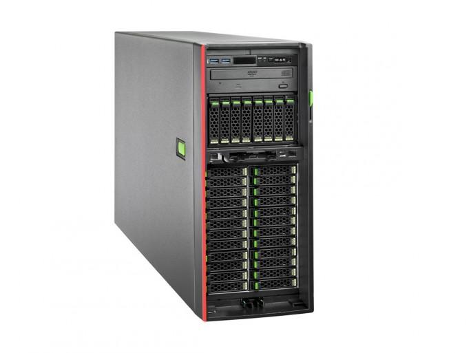 Der Dual-Socket-Tower Primergy TX2550 M4 bietet bis zu 786 GByte DDR4-Arbeitspeicher; die Speicherkapazität lässt sich auf bis zu 32 SSD/HDD-Laufwerken mit RAID erweitern. (Bild: Fujitsu)