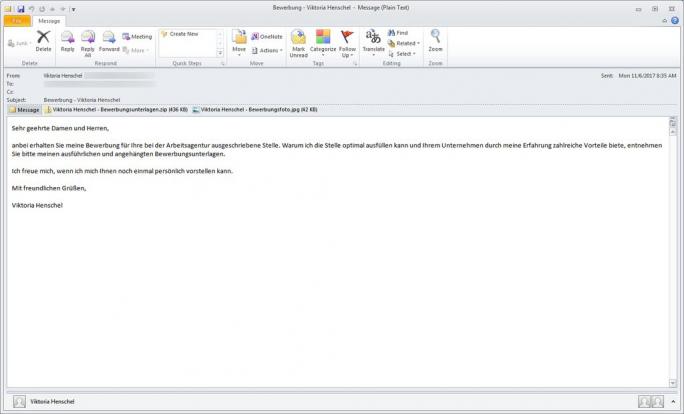 Eine der E-Mails, über die die Ransomware Ordinypt alias HSDFSCrypt verbreitet wird. (Screenshot: G Data)