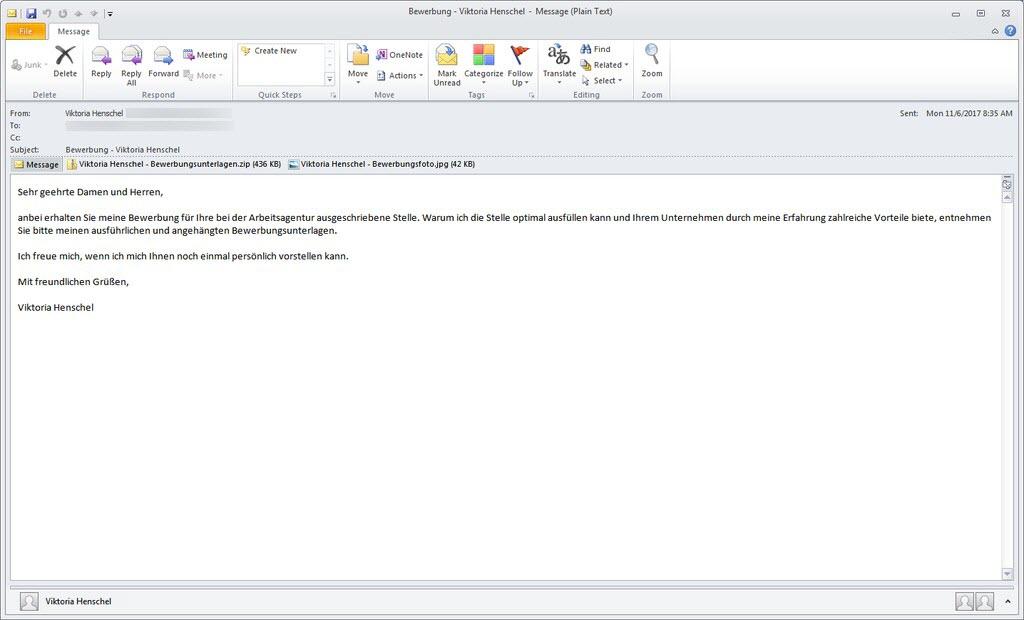 eine der e mails ber die die ransomware ordinypt alias hsdfscrypt verbreitet wird - E Mail Bewerbungen
