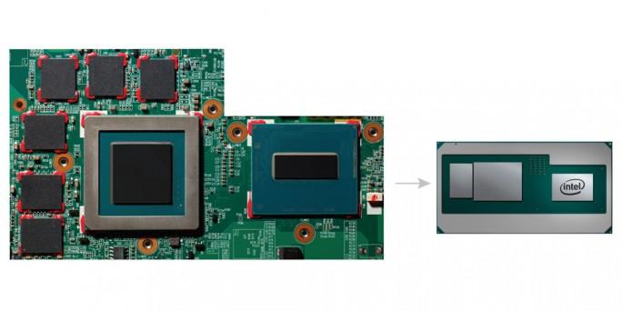 Ein neuer Intel-Chip kombiniert einen leistungsfähigen Prozessor mit einer High-Performance-GPU. Gegenüber einer traditionellen Umsetzung aus mehreren Komponenten ist die neue Lösung deutlich platzsparender. (Bild: Intel)