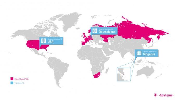 Schwerpunkte des Dynamic Workspaces sind Europa, Nordamerika und Asien. (Bild: Telekom)