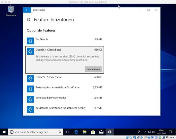 Windows 10: OpenSSH (Client & Server) (Screenshot: ZDNet.de)