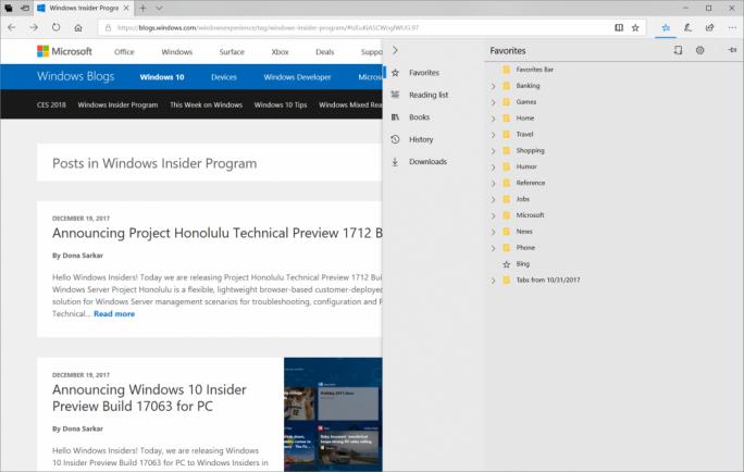In dem neuen Build 17074 optimiert Microsoft unter anderem auch den Browser Edge. (Bild: Microsoft)