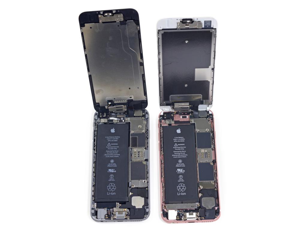 Die Energieversorgung im iPhone 6 im Vergleich zum iPhone 6S. (Bild: iFixit)