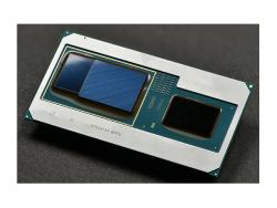 Intel hat neue Core-Prozessoren der achten Generation vorgestellt, die eine Intel-CPU (rechts) mit einer Radeon-RX-Vega-M-Grafik von AMD (mitte) und 4 GByte HBM2-Grafikspeicher (links) kombinieren. (Bild: Intel)