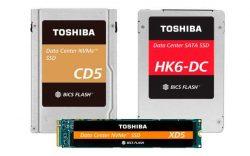 Die neuen Toshiba Enterprise SSDs CD5, XD5 und HK6-DC basieren auf der jüngsten 64-Layer 3D Flash-Memory (Bild: Toshiba)