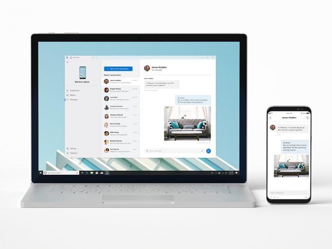 Schon bald will Microsoft eine Windows-10-Insider-Version veröffentlichen, die mit der App Your Phone einen direkten Zugriff auf SMS, Fotos und Benachrichtigungen des Smartphones erlaubt (Bild: Microsoft).
