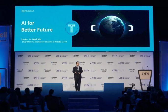 """Alibaba Cloud hat beim MWC die Initiative """"Tech for Change"""" vorgestellt. Im Bild Wanli Min, Chief Machine Intelligence Scientist, Alibaba Cloud. (Bild: Alibaba)"""